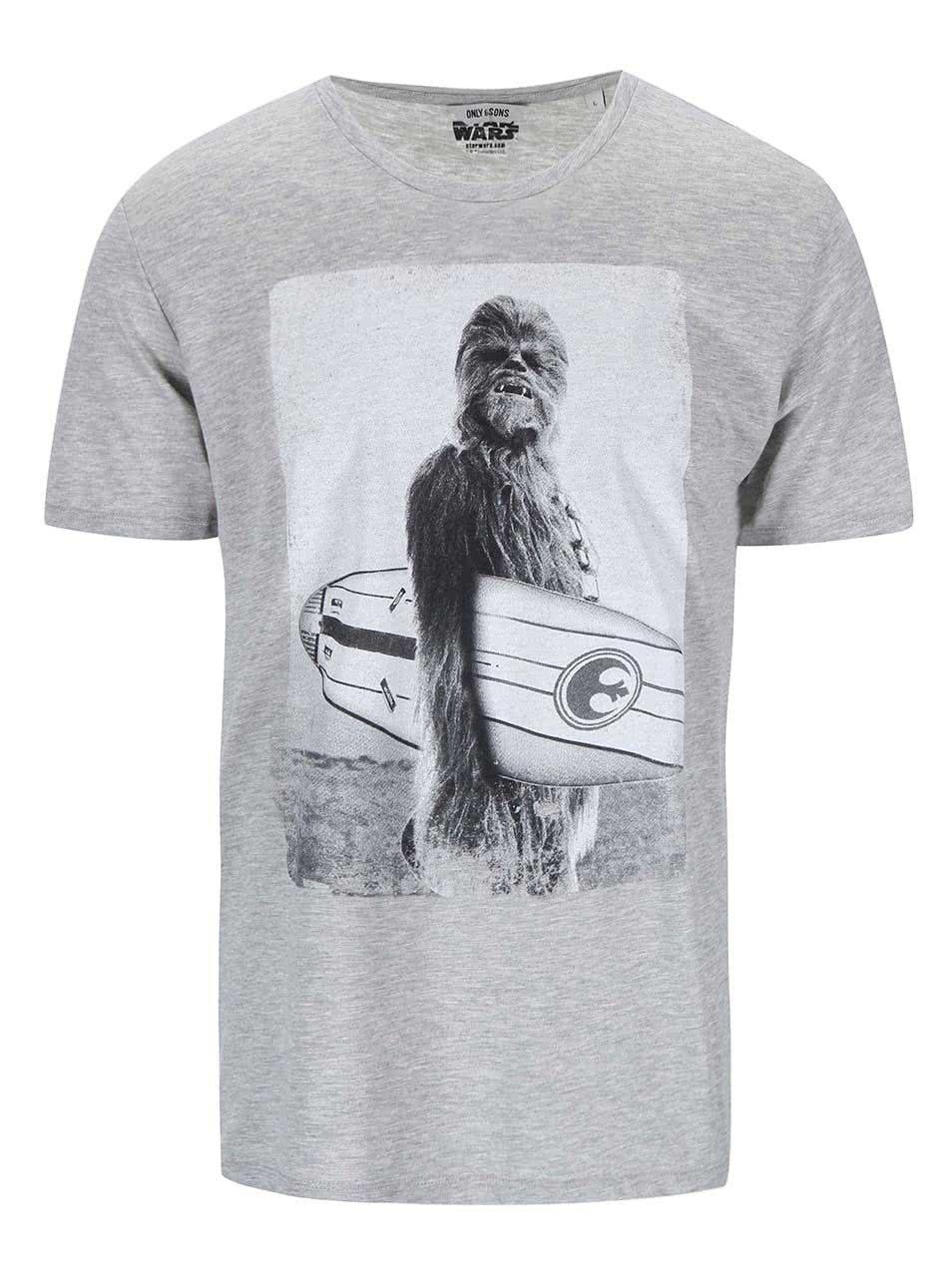 2f09dcbf243 Šedé triko s potiskem ONLY   SONS Star Wars ...