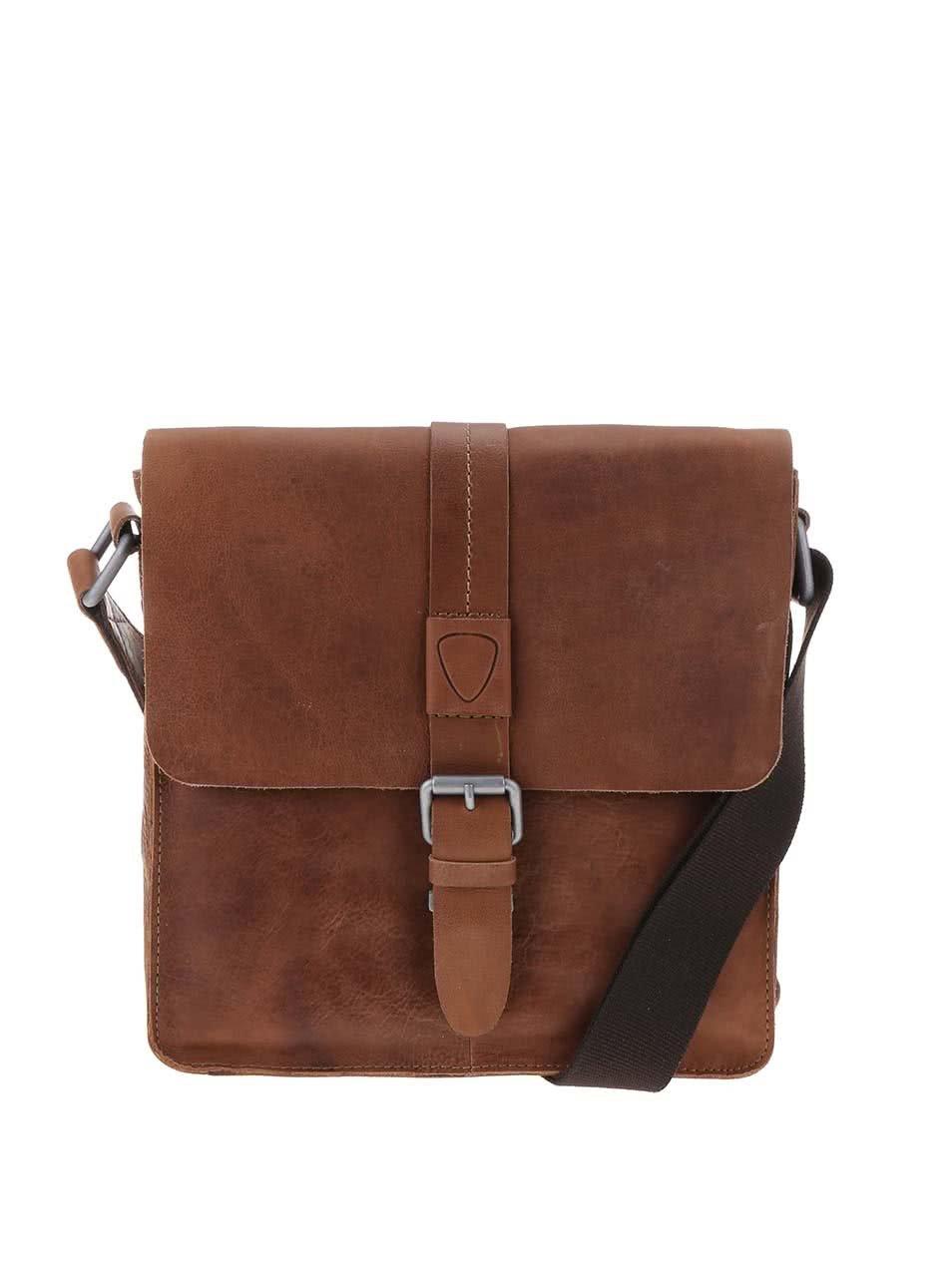 8d0ccea8e9e2 Hnedá kožená taška cez rameno Strellson Blake ...
