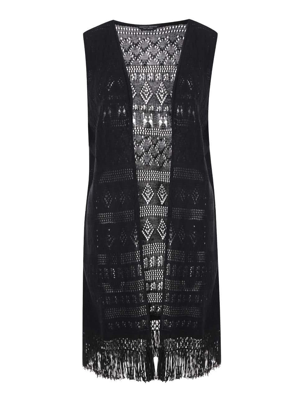 5c2483d5457b Černá pletená vesta s třásněmi Dorothy Perkins Curve ...