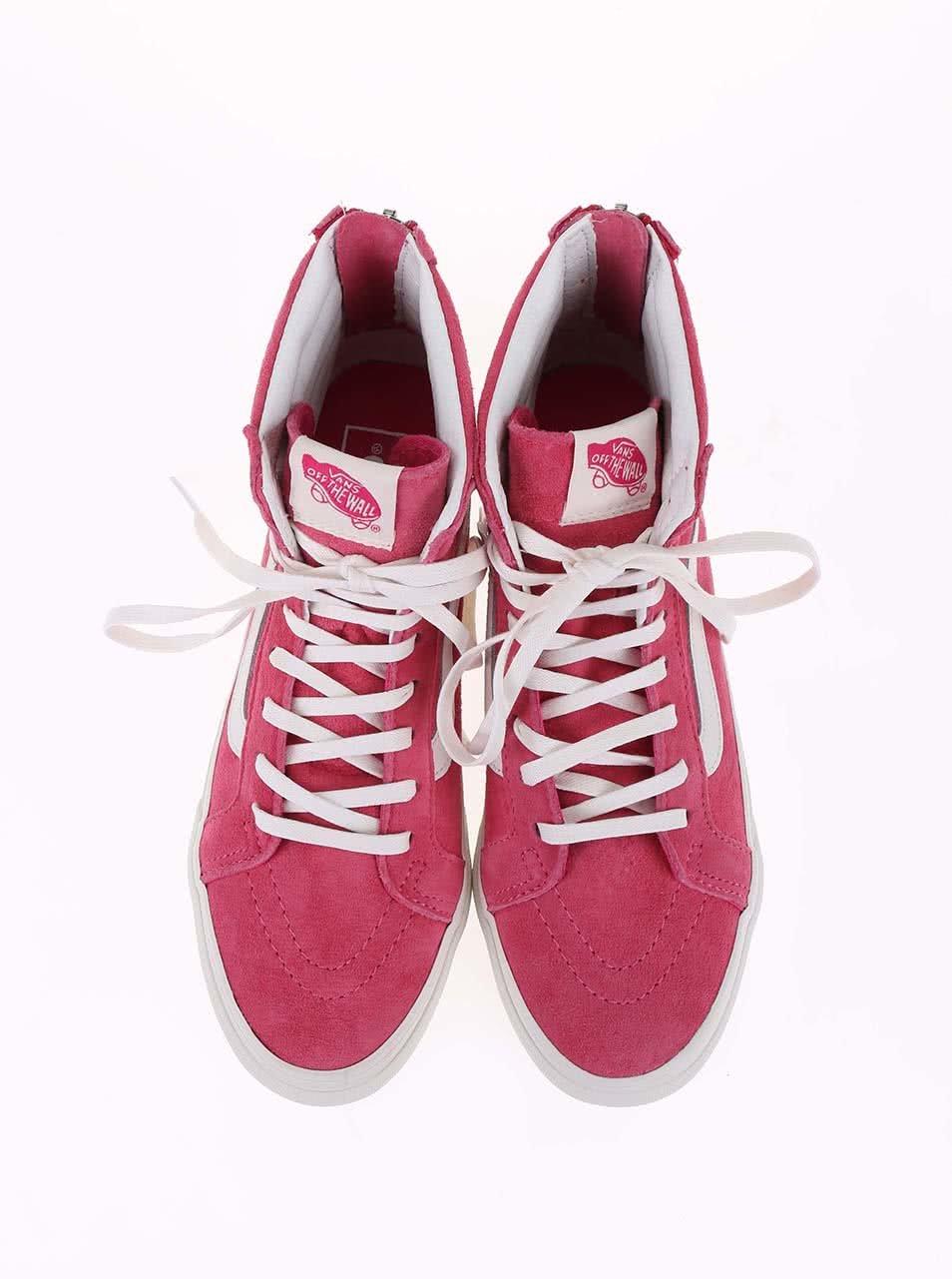 Růžové dámské kotníkové tenisky Vans SK8-HI ... 341a7c4025