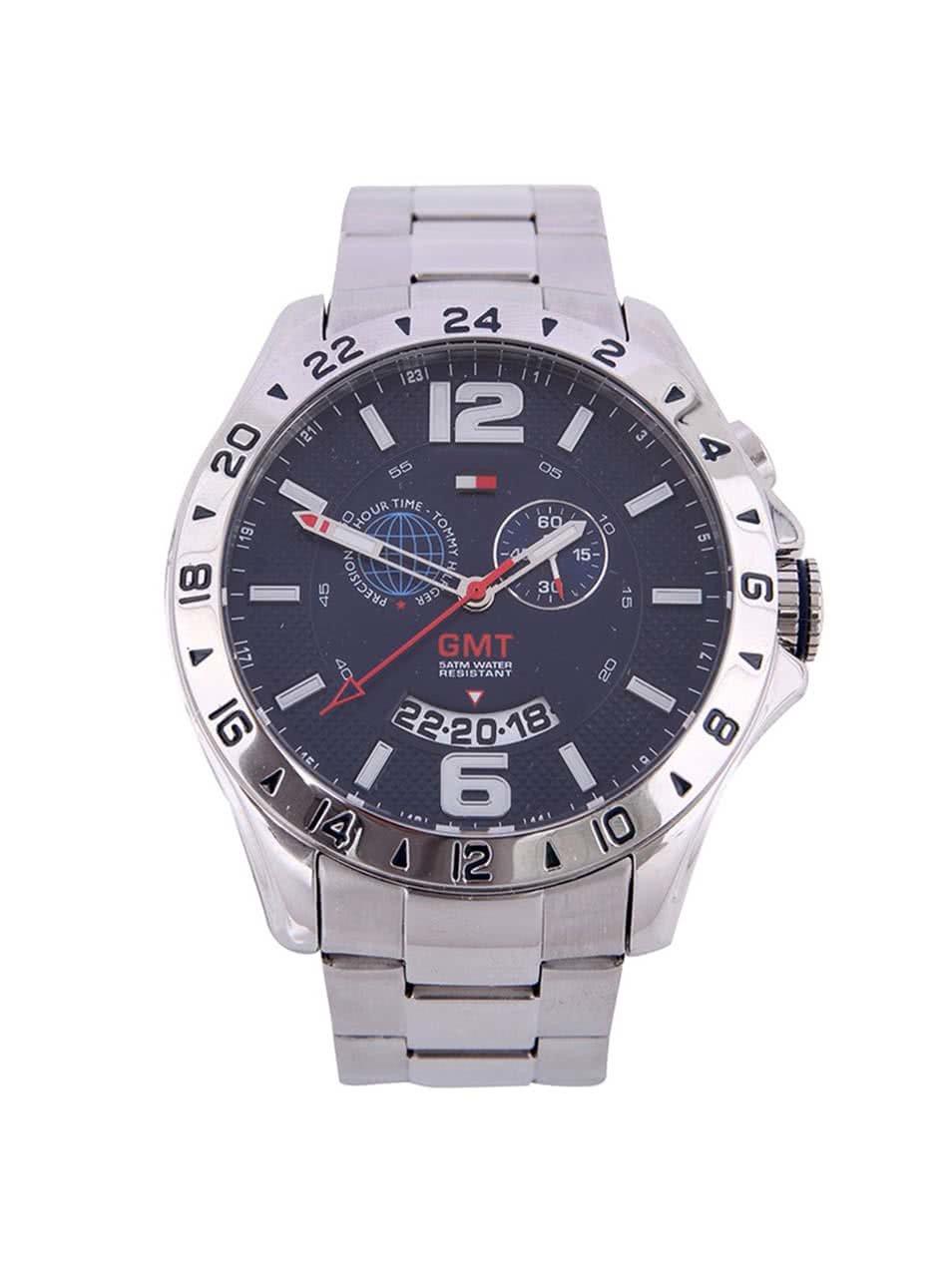 Strieborné pánske hodinky z nerezovej ocele s duálnym časom Tommy Hilfiger  ... 42599ab1bb0