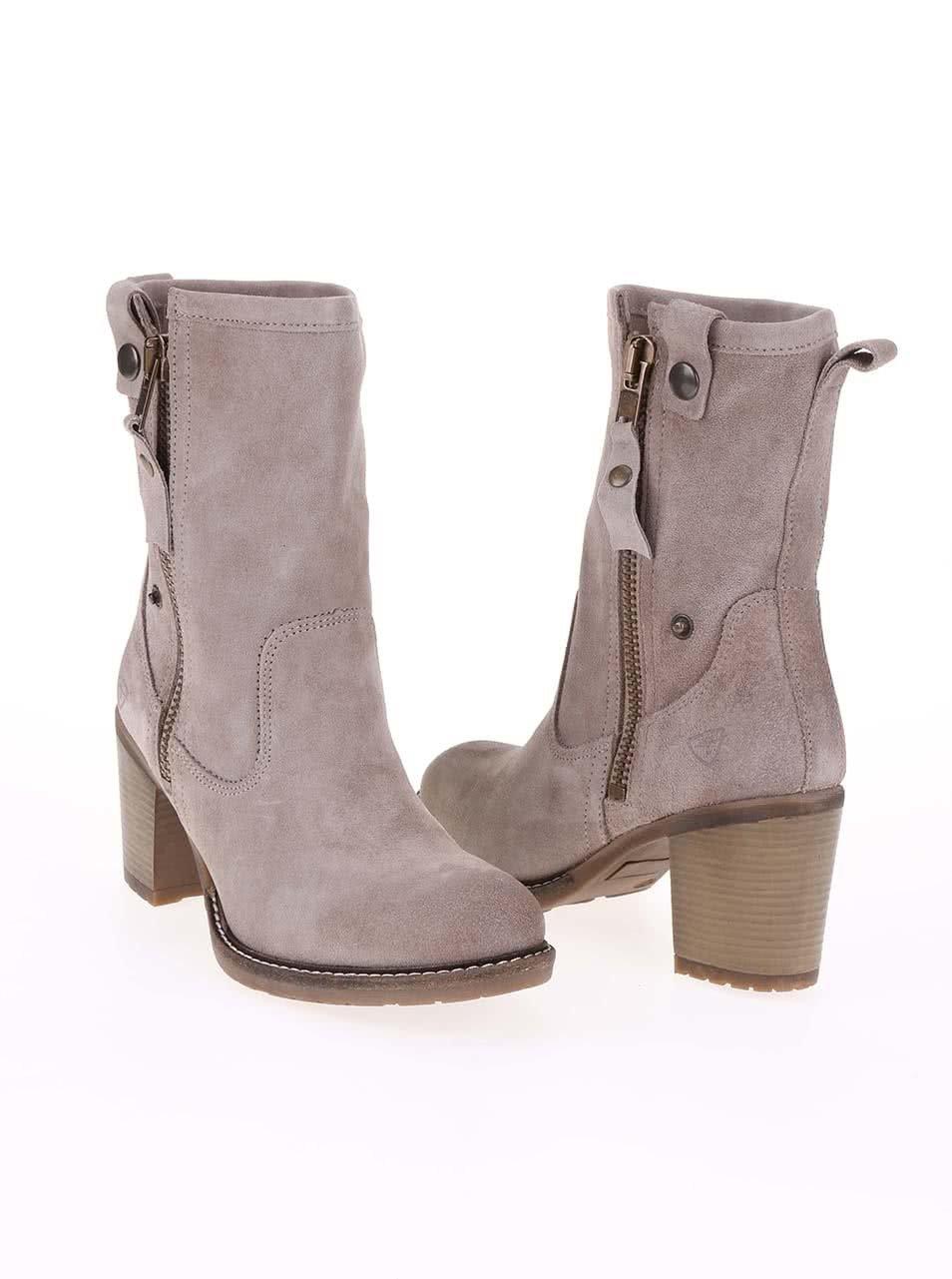 9a28d99925 Sivé kožené členkové topánky na podpätku Tamaris ...
