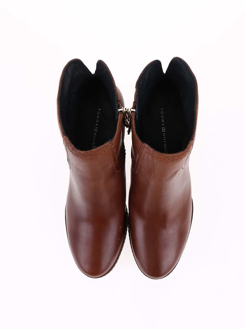 415efcba8b7 Hnědé kožené kotníkové boty na podpatku Tommy Hilfiger Jenina ...