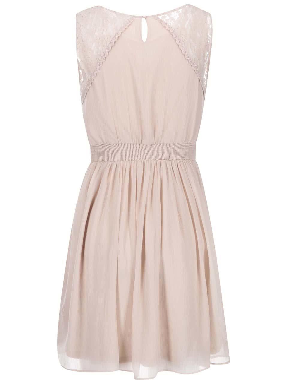 Pudrově růžové šaty s krajkou VERO MODA Freja ... 908d1f584b