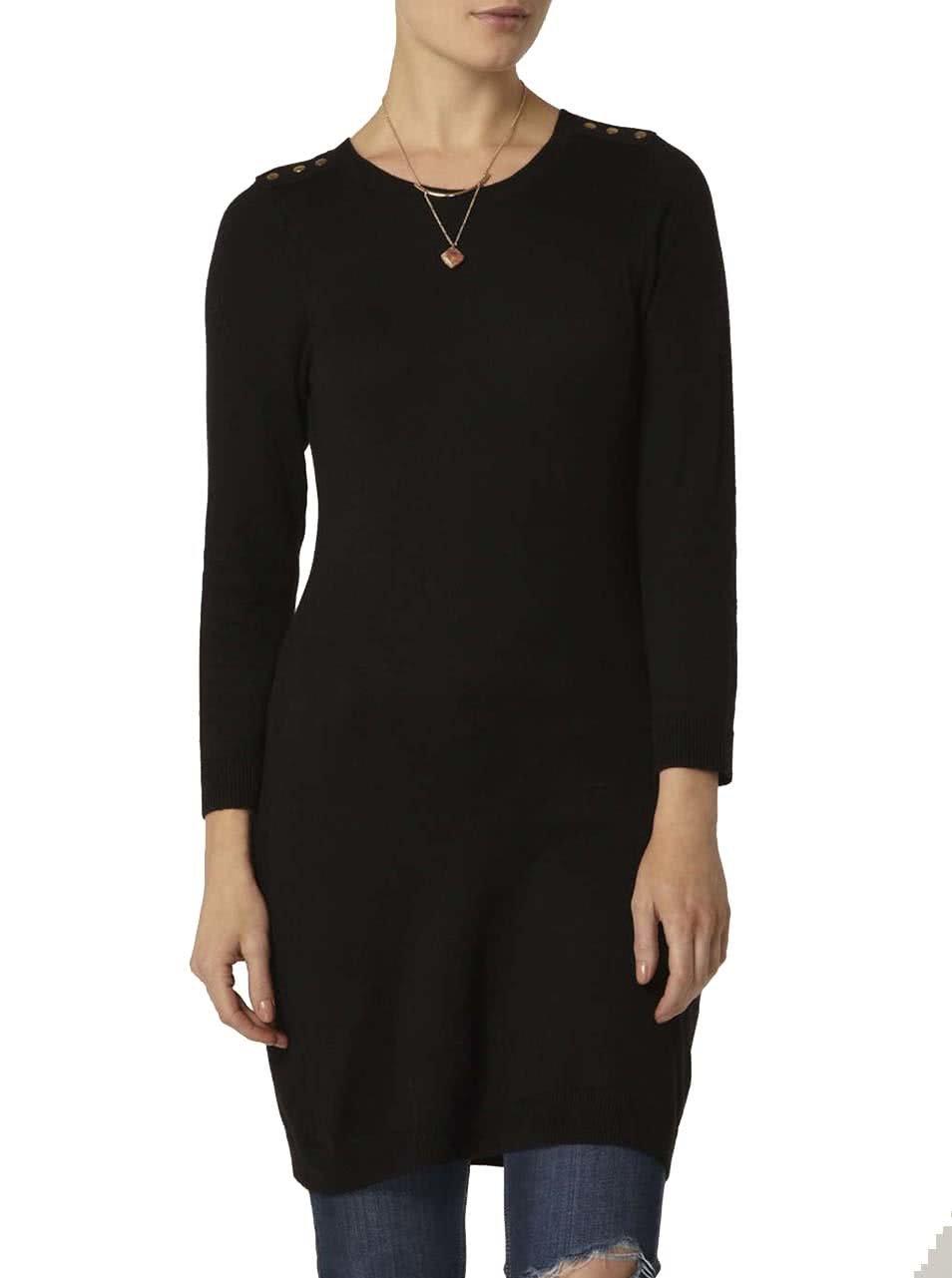 Čierne svetrové šaty s gombíkmi na ramenách Dorothy Perkins ... 496222e7581