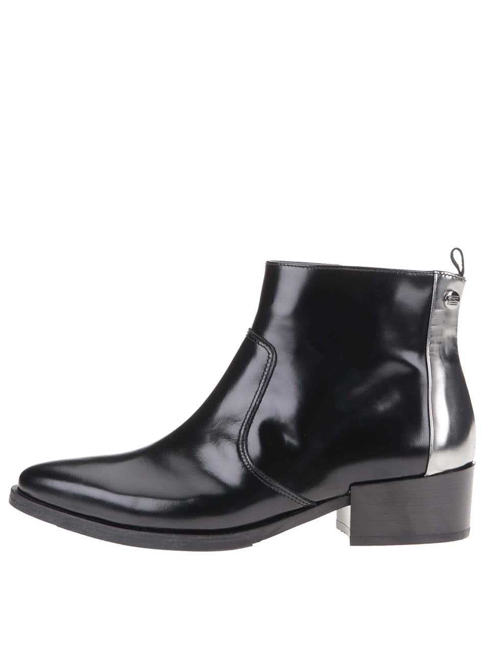 151b380986 Čierne dámske kožené členkové topánky Tommy Hilfiger PIPPA ...