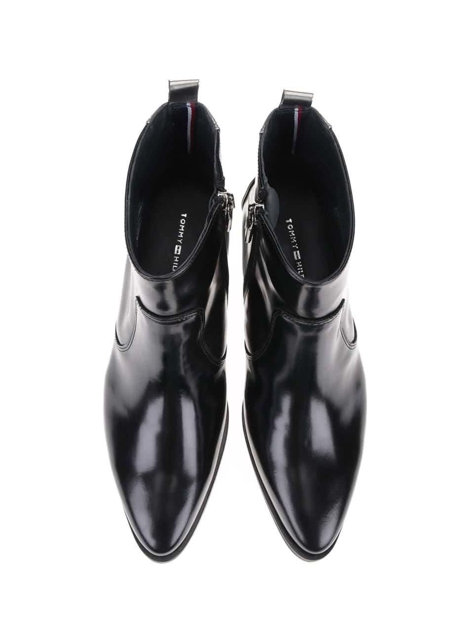 Čierne dámske kožené členkové topánky Tommy Hilfiger PIPPA ... 10bc1e0fec0