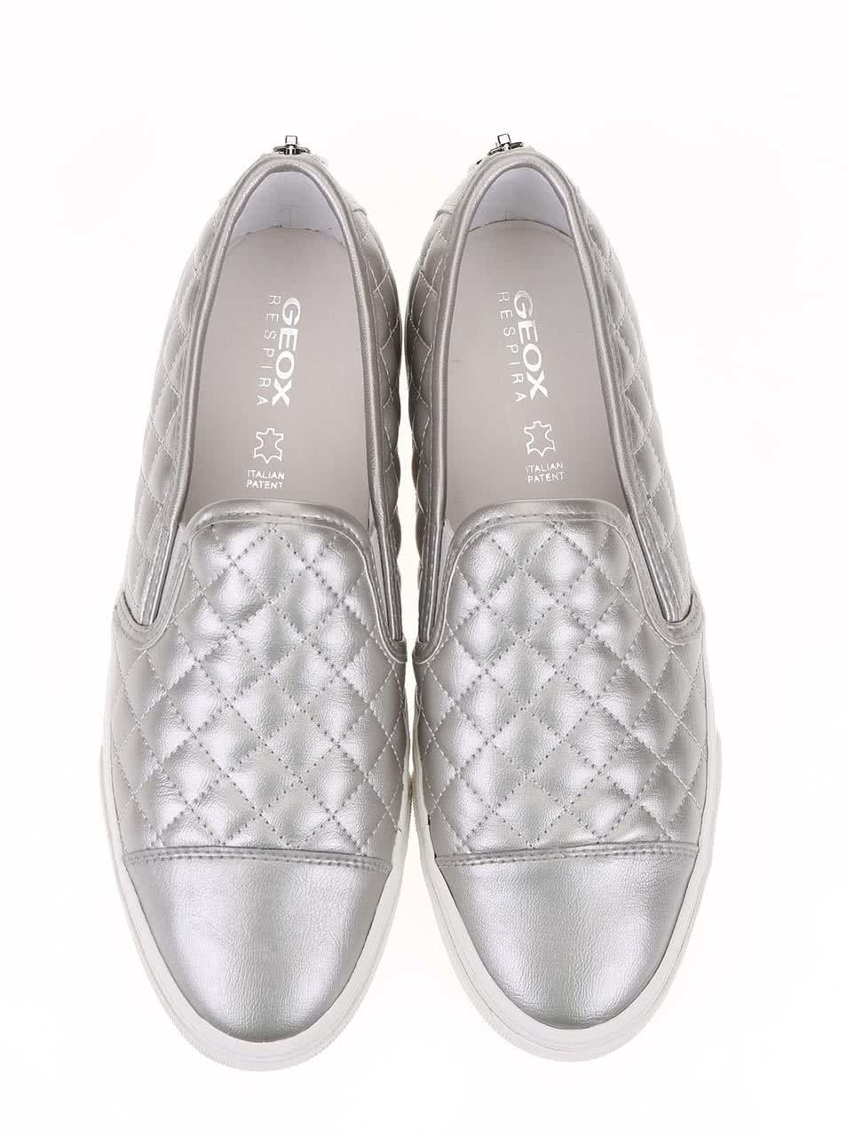 Dámské slip on tenisky ve stříbrné barvě Geox New Club ... 13f293eb94