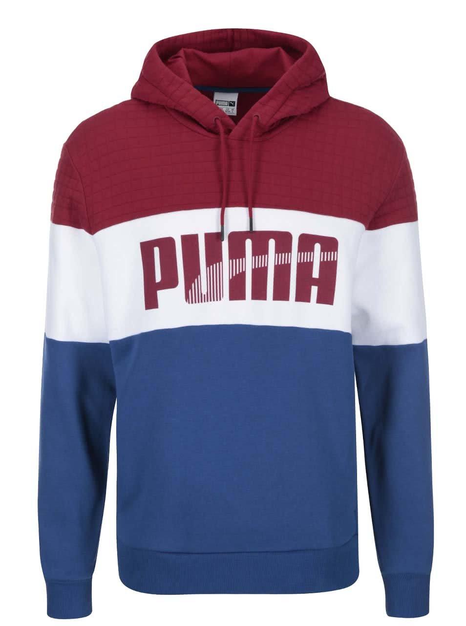 Červeno-bílo-modrá pánská mikina s kapucí Puma Game ... e293169ca9