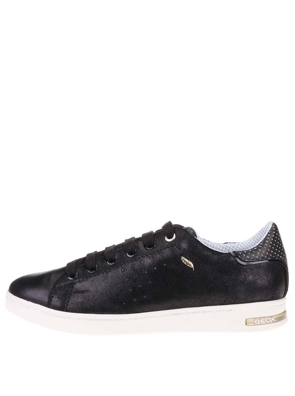 Čierne dámske kožené tenisky s bielou podrážkou Geox Jaysen ... e1a328f9c83