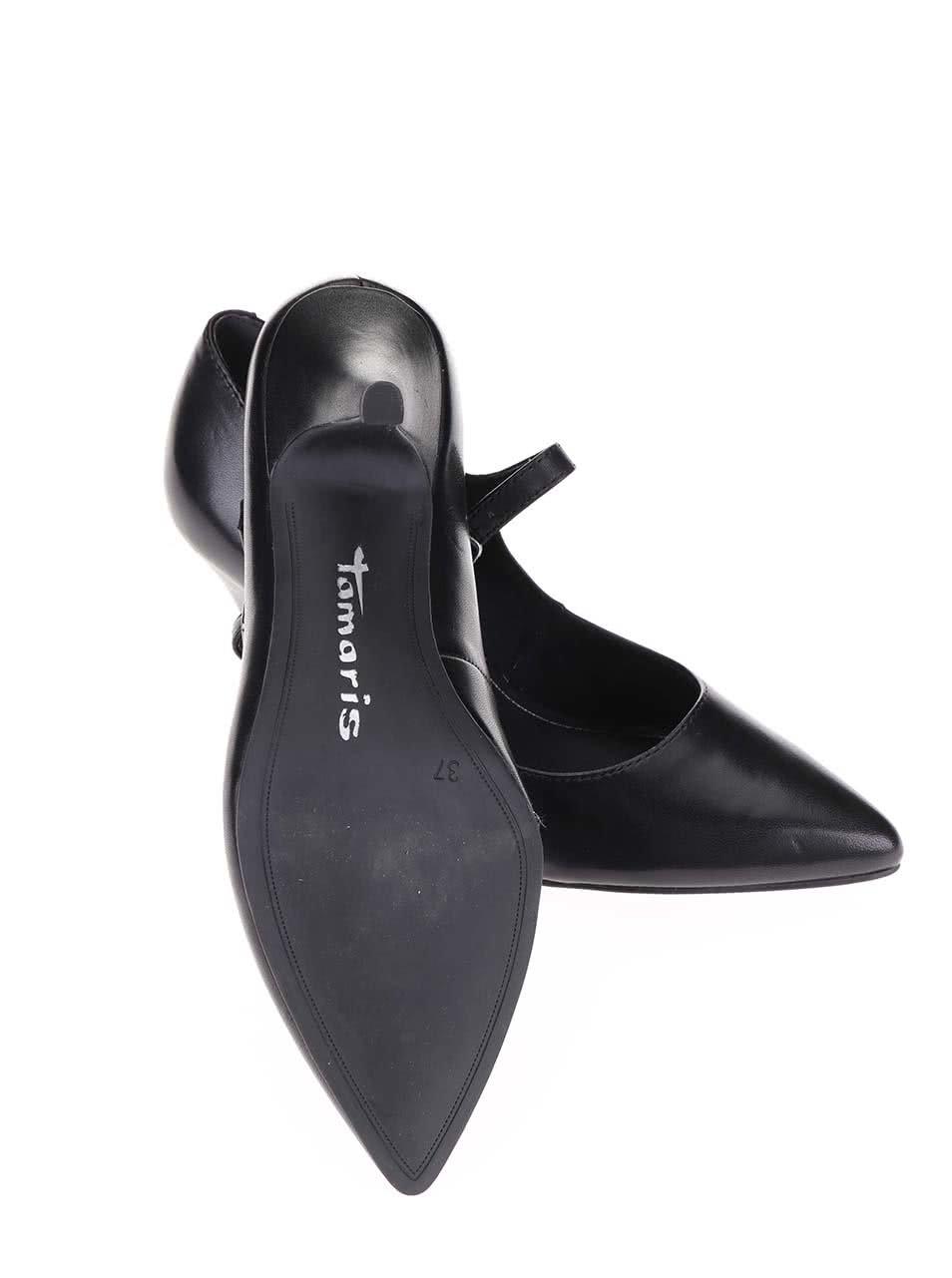 Černé kožené páskové lodičky na podpatku Tamaris ... 5b70706c01