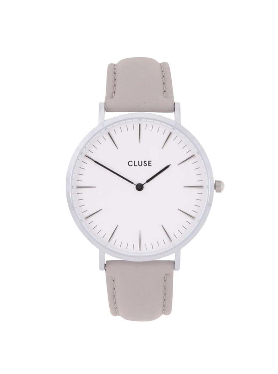Bílo-šedé dámské hodinky s koženým páskem CLUSE La Bohème Silver ... a2137ca99d
