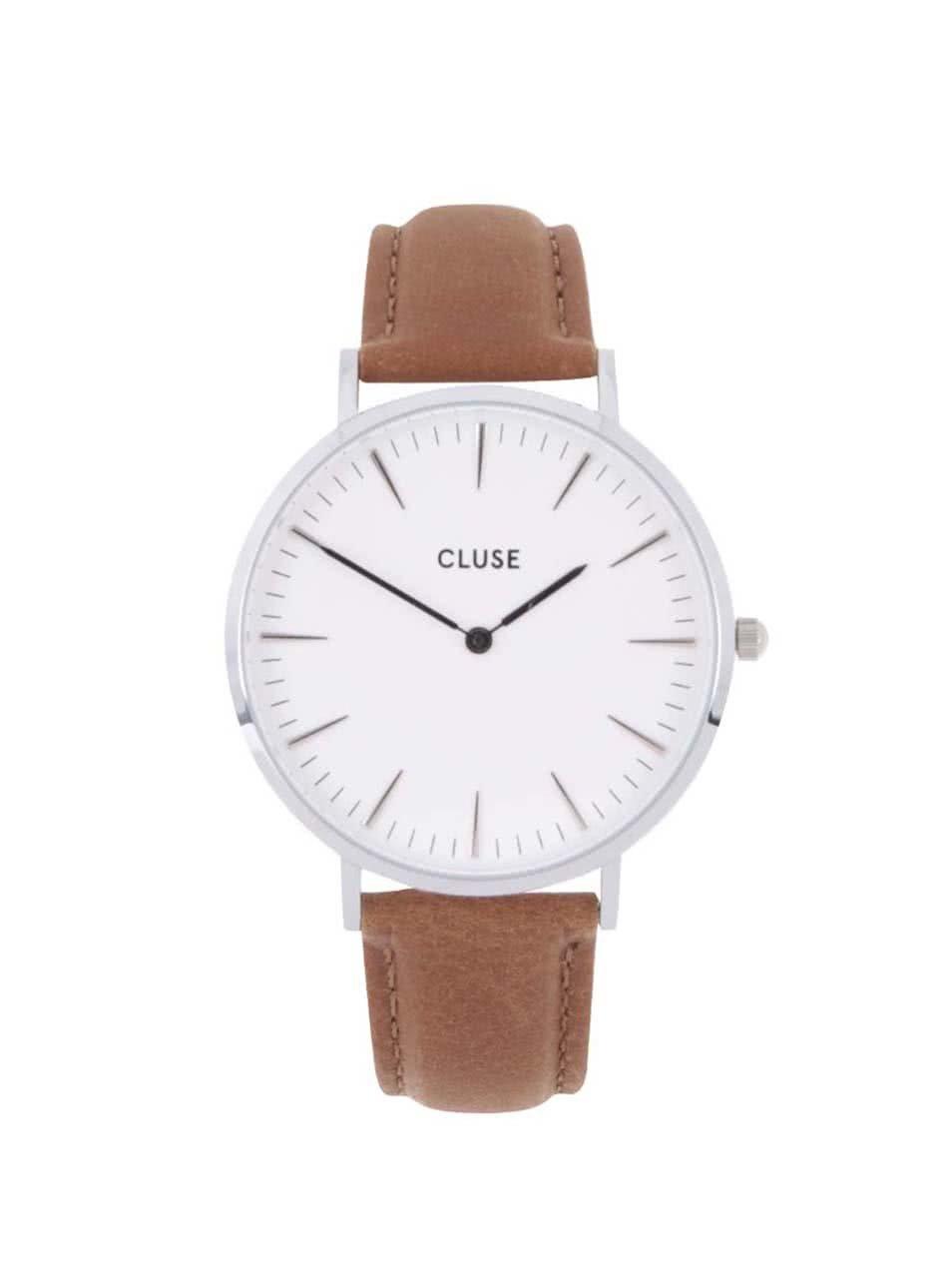 8b5cf29e428 Dámské hodinky ve stříbrné barvě s hnědým koženým páskem CLUSE La Bohème  Silver ...