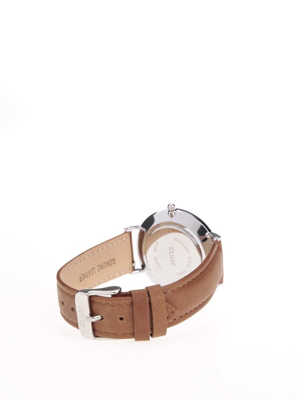 f459b177ca2 ... Dámské hodinky ve stříbrné barvě s hnědým koženým páskem CLUSE La Bohème  Silver ...