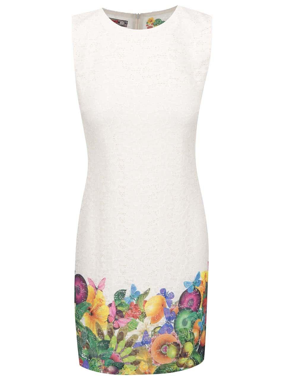 Krémové šaty s barevnými květy a motýlky Desigual Guido ... 4219210d860