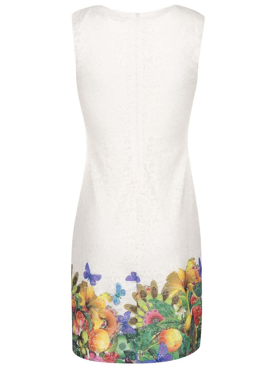 0042e678ccfd Krémové šaty s barevnými květy a motýlky Desigual Guido ...