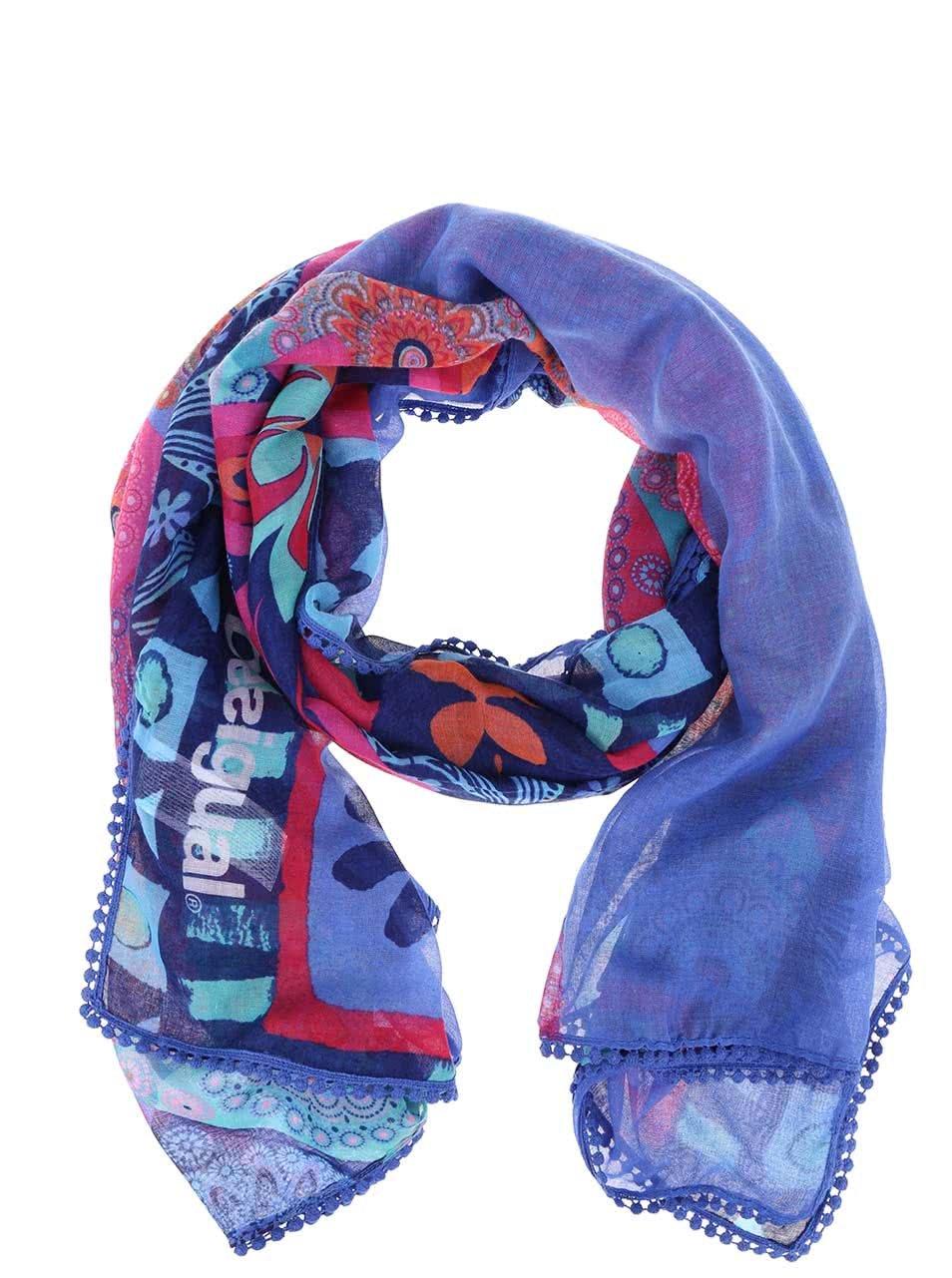 Modrý vzorovaný šátek Desigual Magic ... 7205dcc5fb
