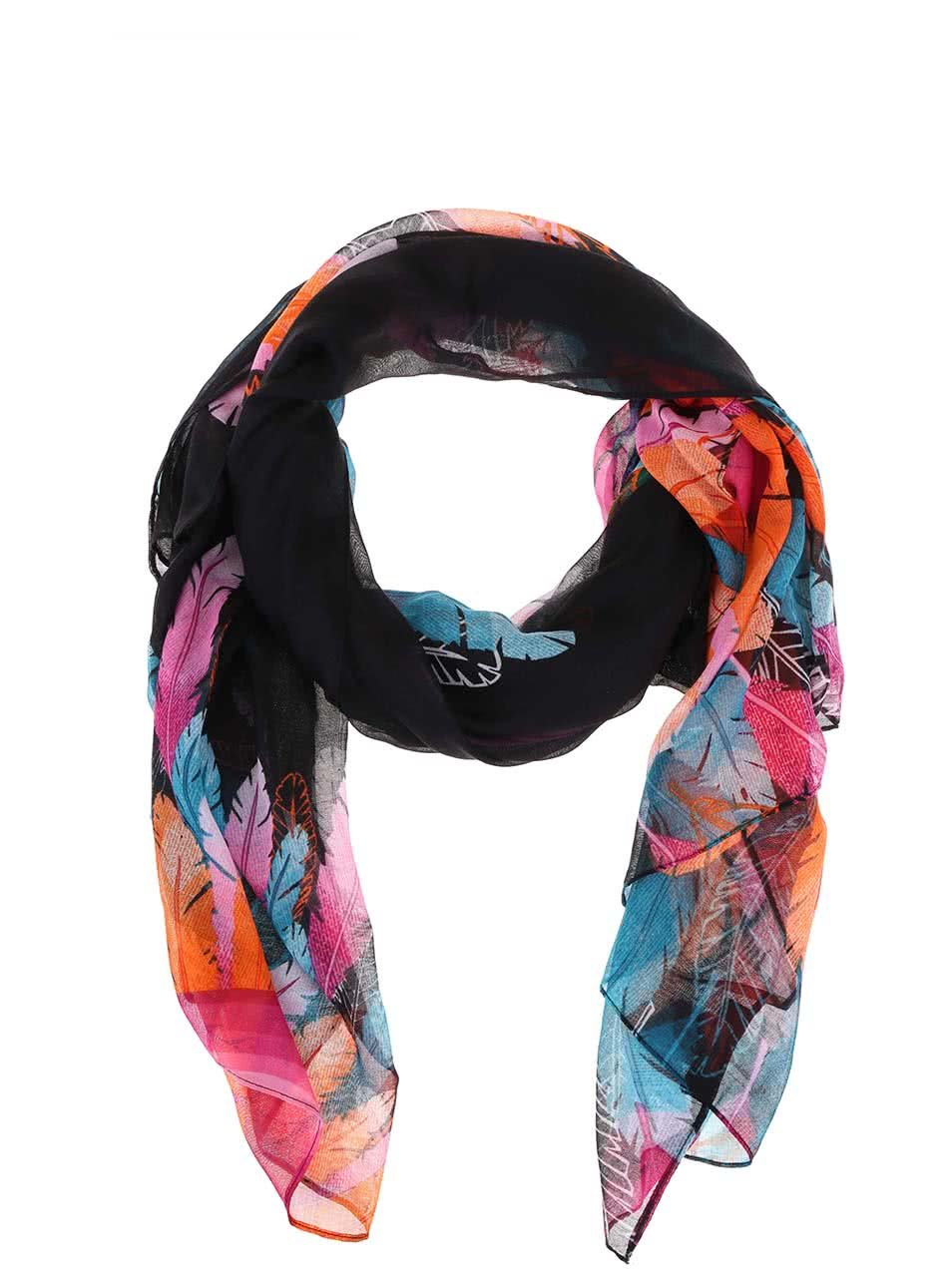 Čierna šatka s farebnými vzormi Desigual Rectangle Far West ... aab32c70931