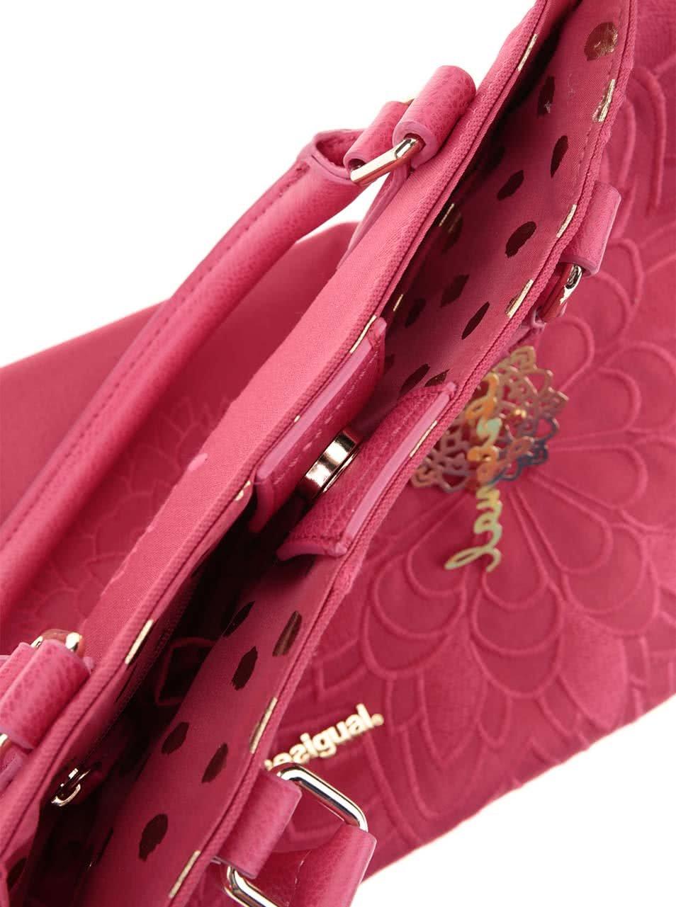 Fuchsiová kabelka s detaily v zlaté barvě Desigual Florida ... 78ecabbe8b7