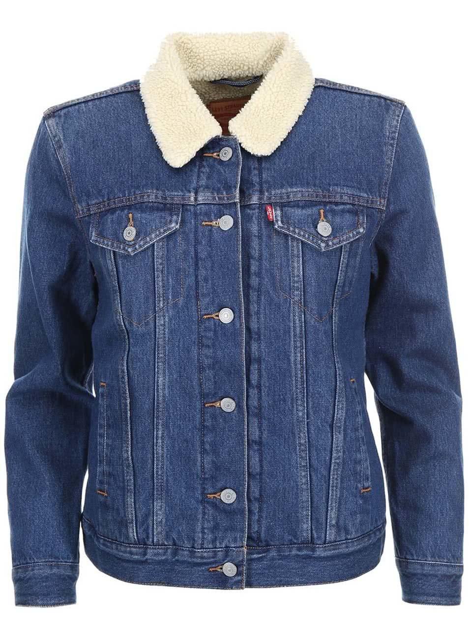 58b84bcd4f93 Modrá dámská džínová bunda s kožíškem Levi s® ...