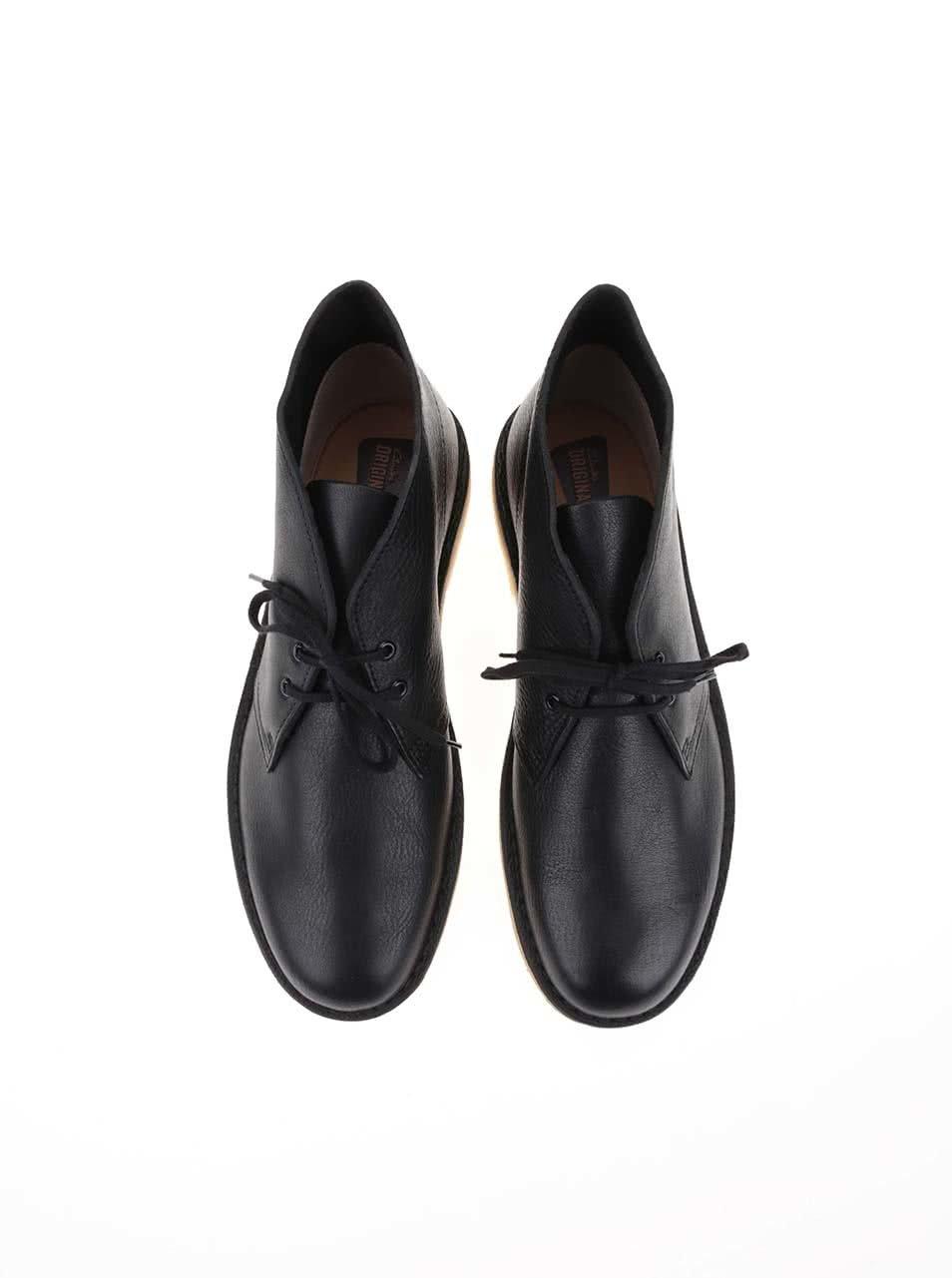 741f7622ef2c Čierne pánske kožené členkové topánky Clarks Desert Boot ...