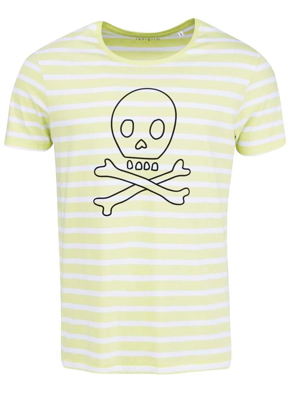 Bielo-žlté pruhované pánske tričko ZOOT Originál Lebka ... c65fb690f72