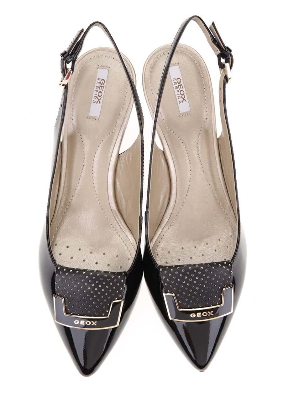 aaf2d0f5d04f Čierne kožené sandáliky na podpätku Geox Elina ...