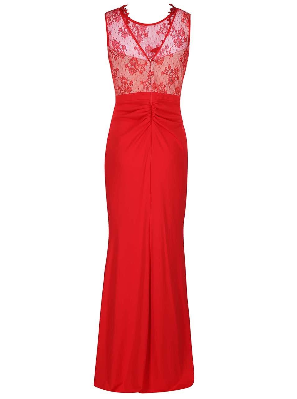 895a49b0a855 Červené plesové šaty s čipkovaným topom Lipsy ...