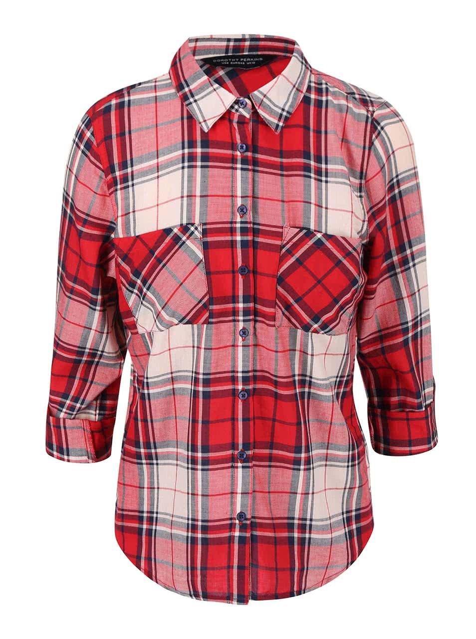 Krémovo-červená kostkovaná košile Dorothy Perkins ... 154b895555