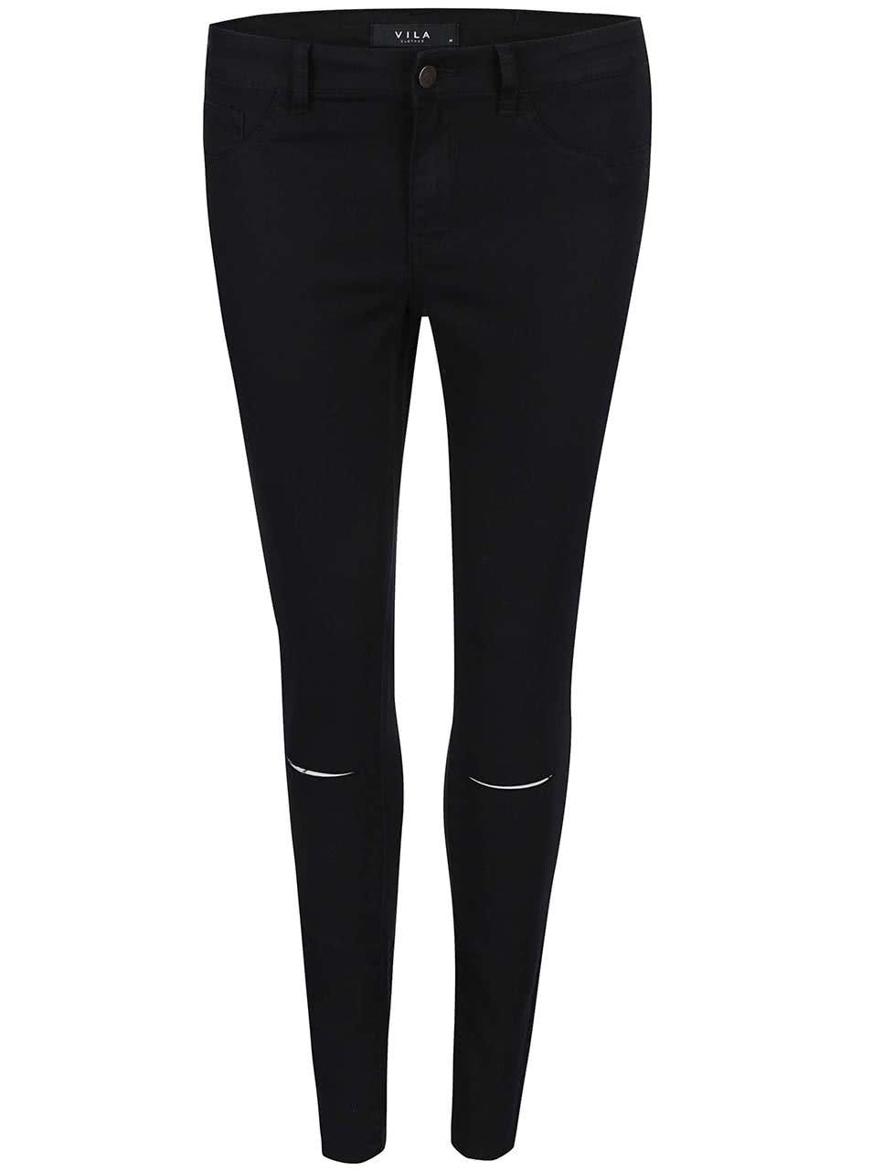 Černé kratší slim džíny s děrovanými koleny VILA Commit ... 5244cb8266