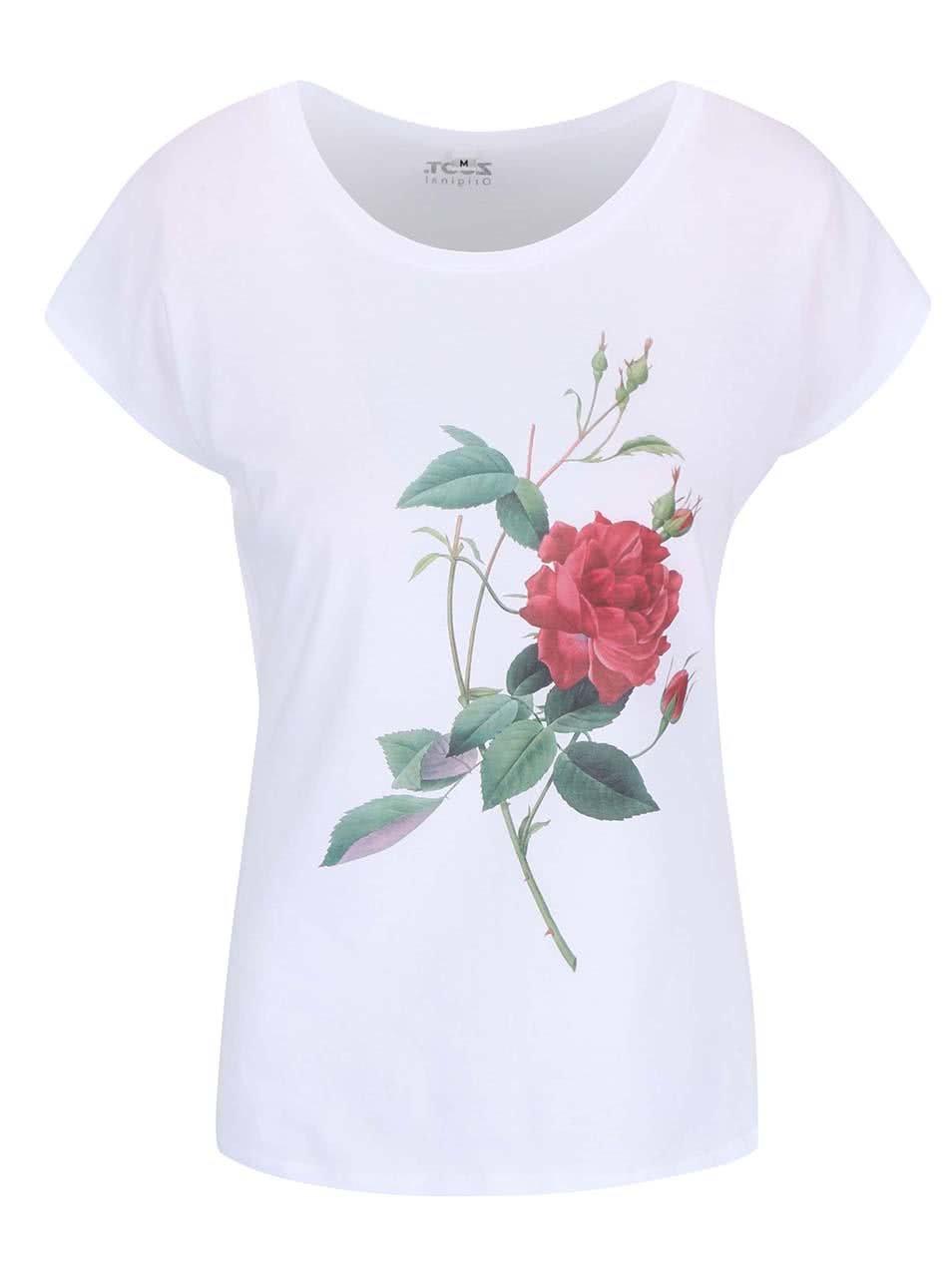 Bílé dámské tričko s potiskem ZOOT Originál Růže ... 4028b3fc9d