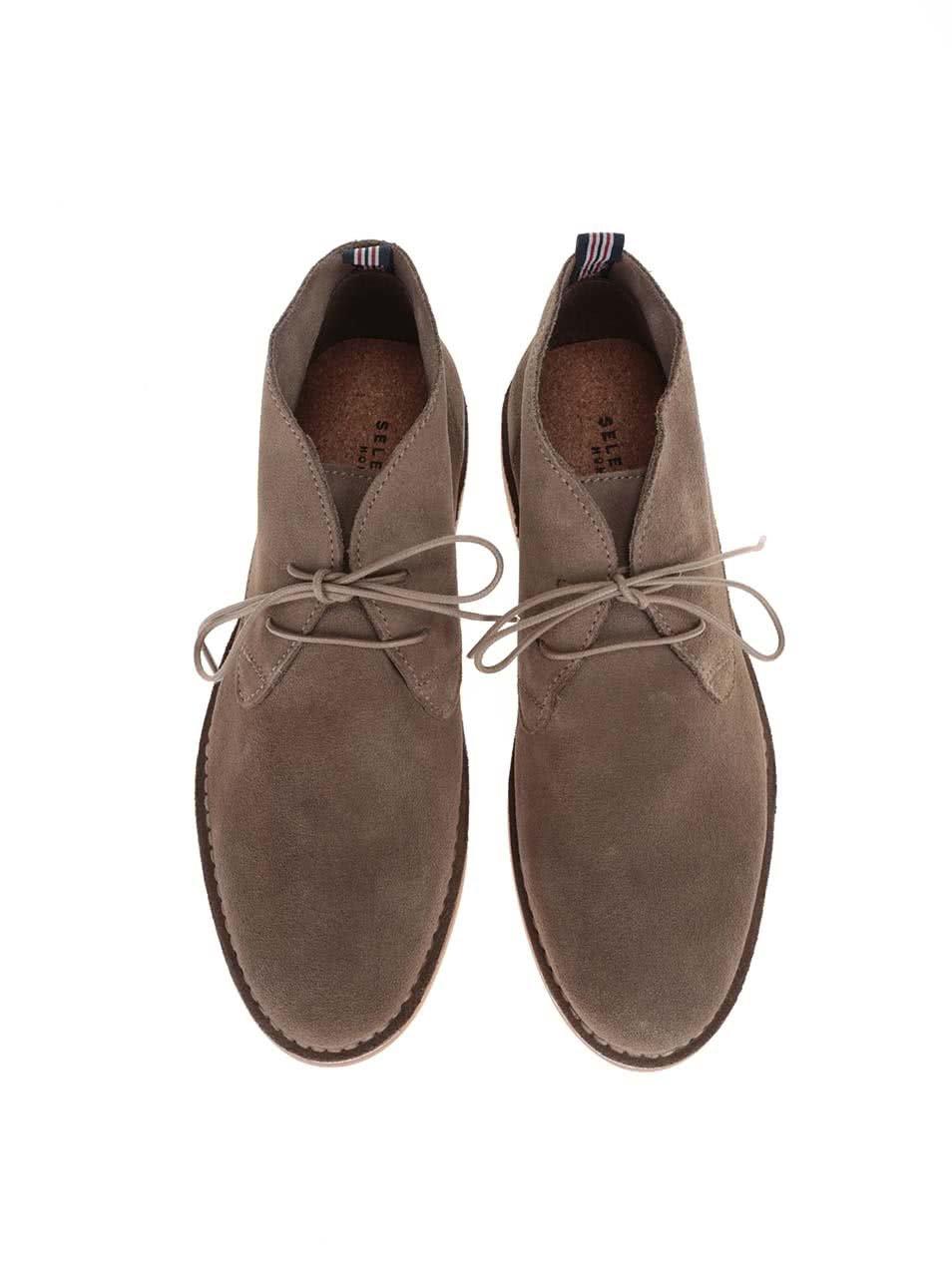 80acb80d1c04 Svetlobéžové kožené členkové topánky Selected Royce ...