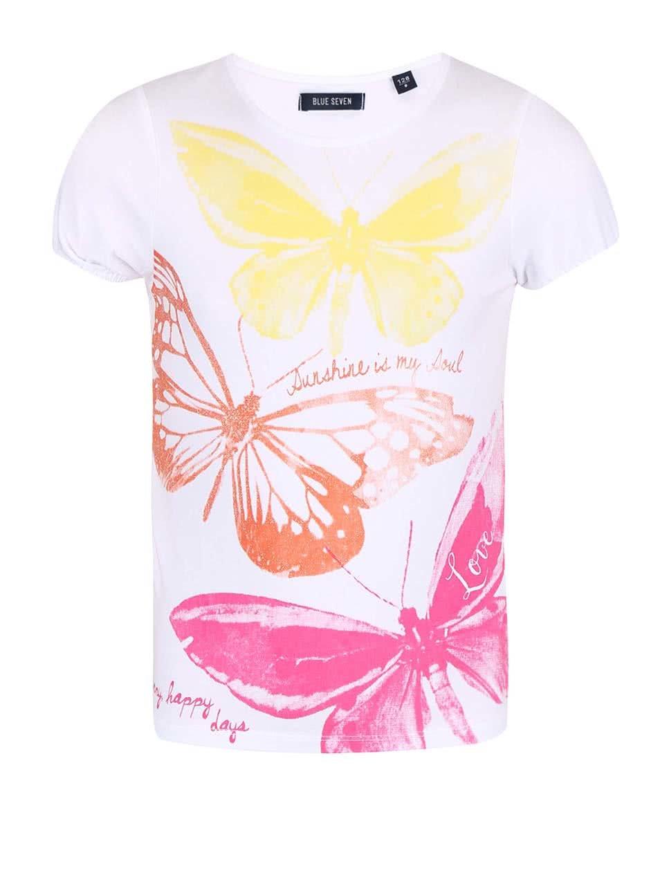 203f468f8ba6 Biele dievčenské tričko s farebnou potlačou motýľov Blue Seven ...