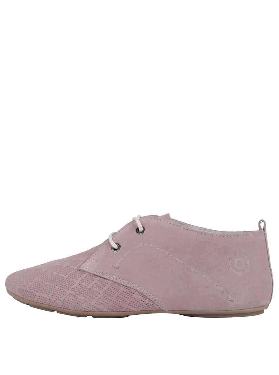 461c2b0e8f0 Ružové kožené dámske poltopánky s perforovanou špičkou bugatti ...