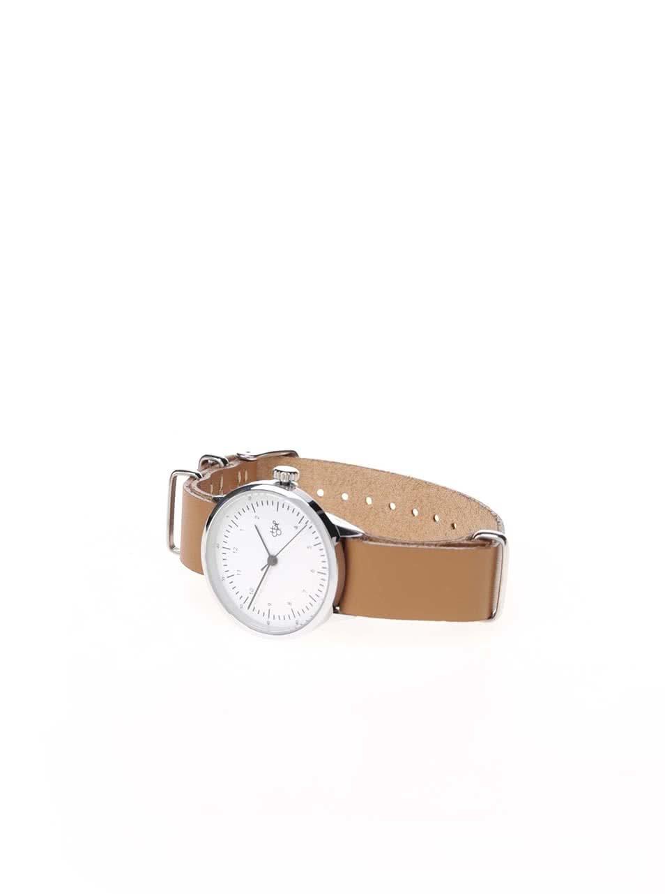 ... Dámské hodinky ve stříbrné barvě s hnědým koženým páskem CHPO Harold  Mini ... c1d78191f5