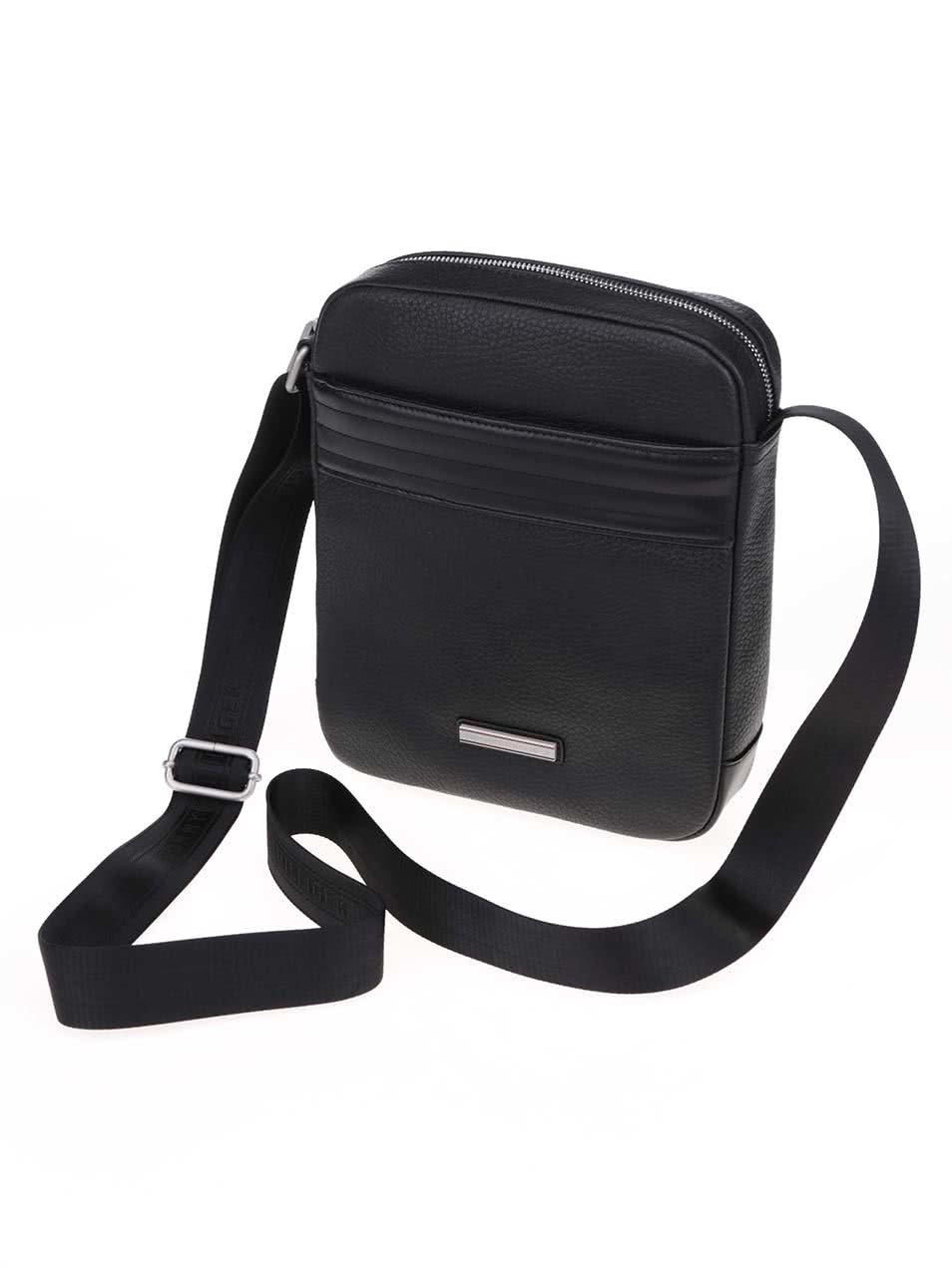 Čierna pánska kožená taška cez rameno Tommy Hilfiger Business ... 552fe2a569