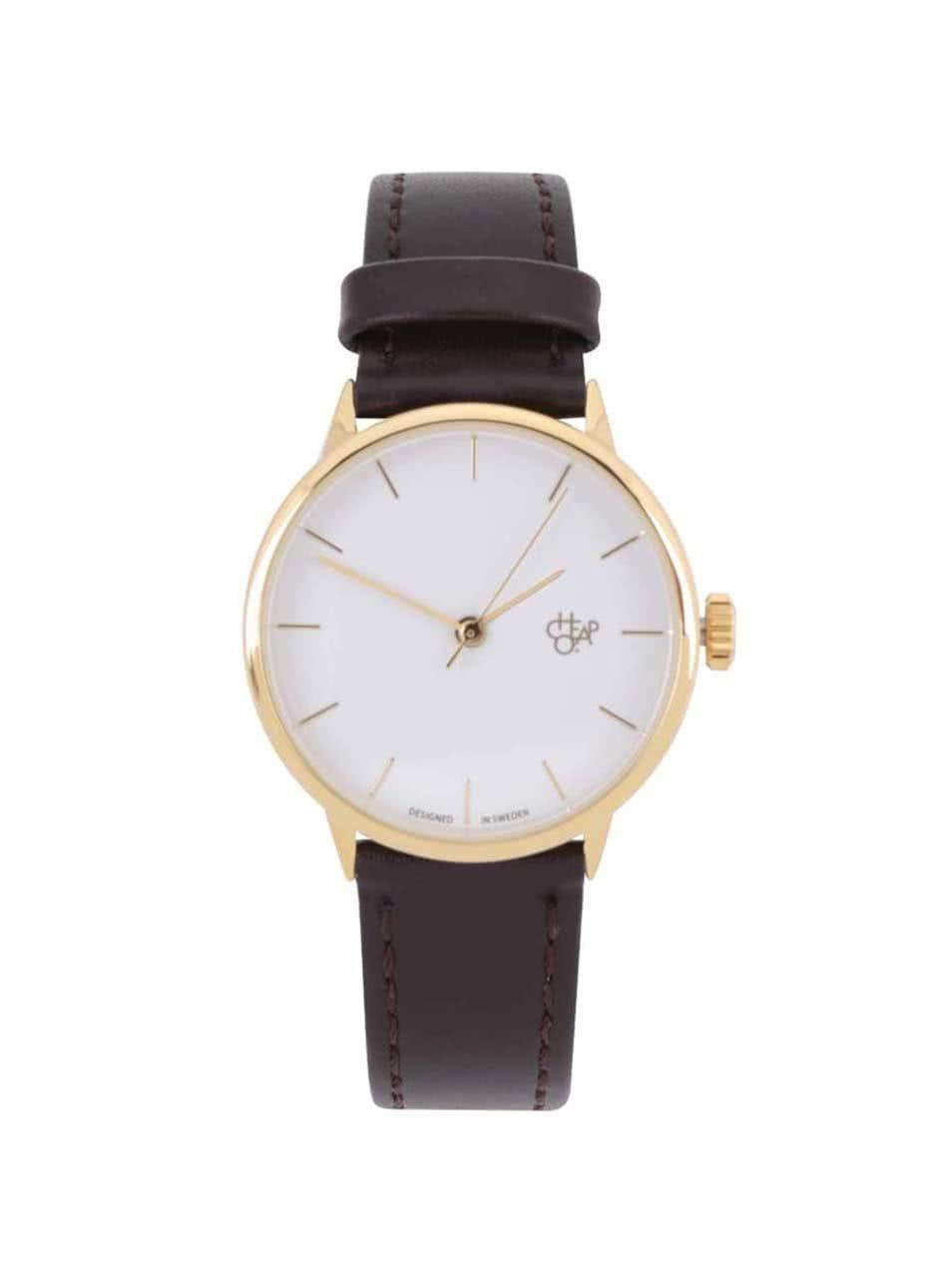 Dámské hodinky ve zlaté barvě s tmavě hnědým páskem z veganské kůže CHPO  Khorshid Mini Gold ... 7b02cd1eb9