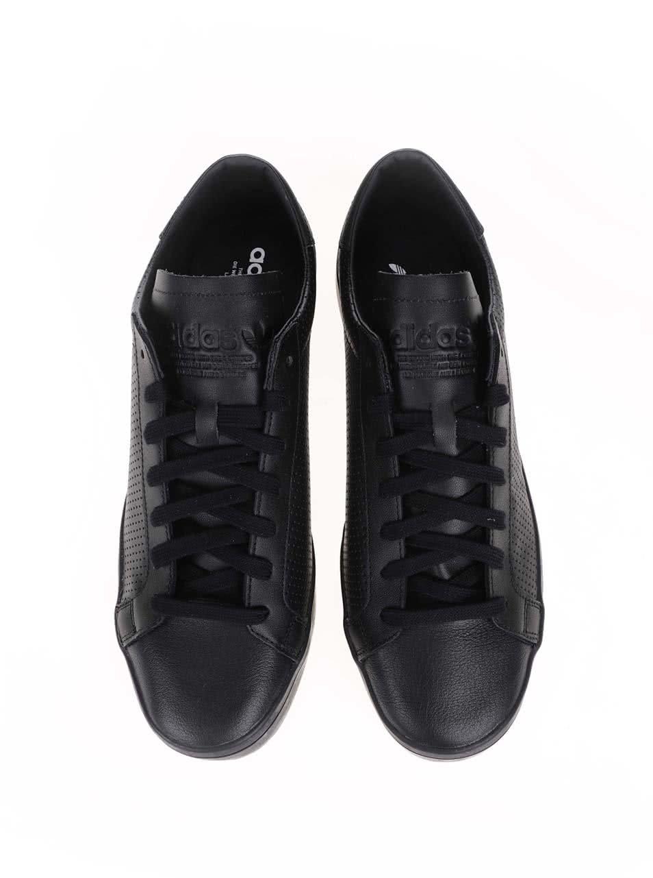 bd3f8ec7736 Černé pánské kožené tenisky adidas Originals Court Vantage ...