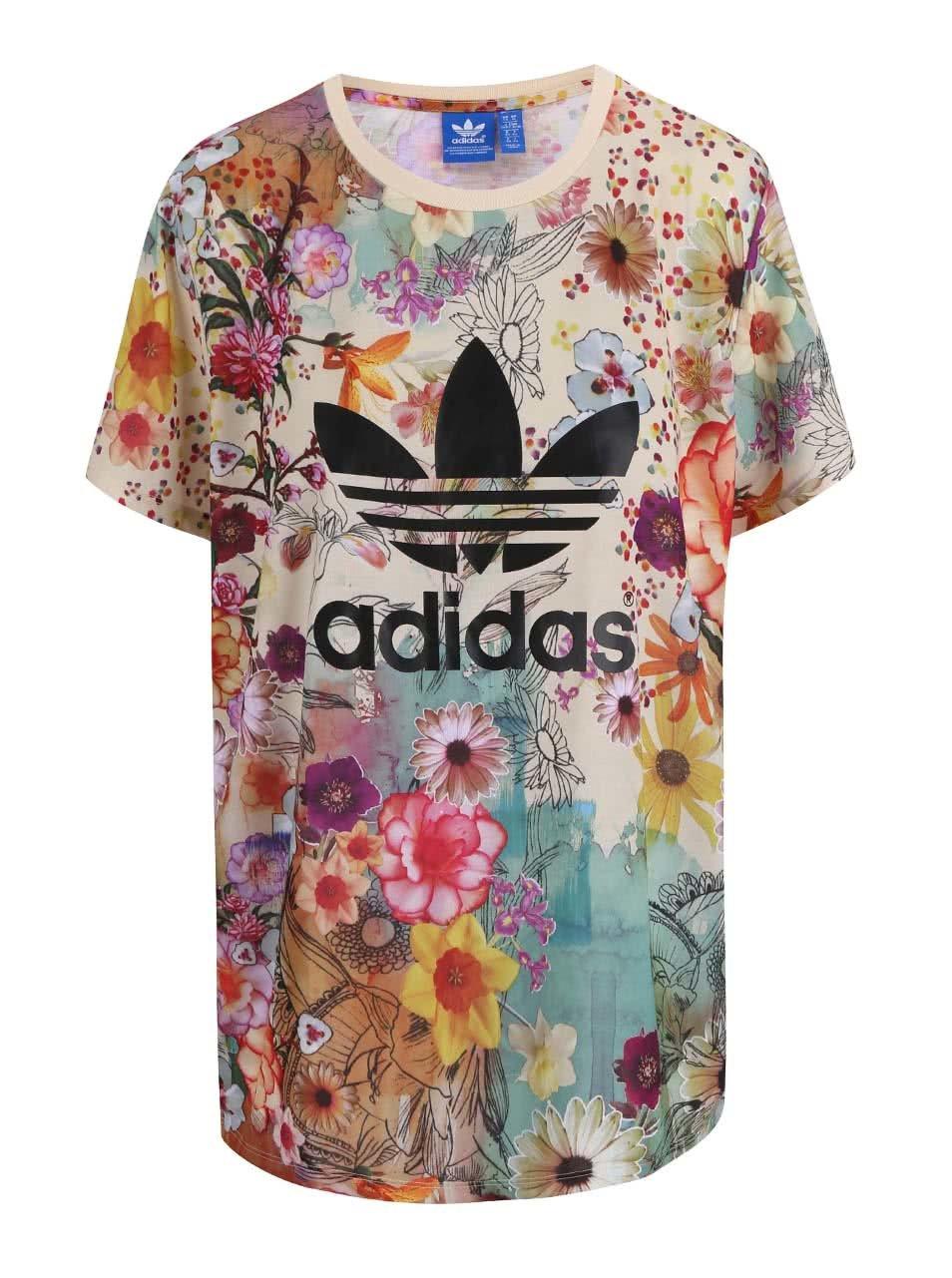 Farebné dámske kvetinové tričko adidas Originals ... b85b1f0c6ce