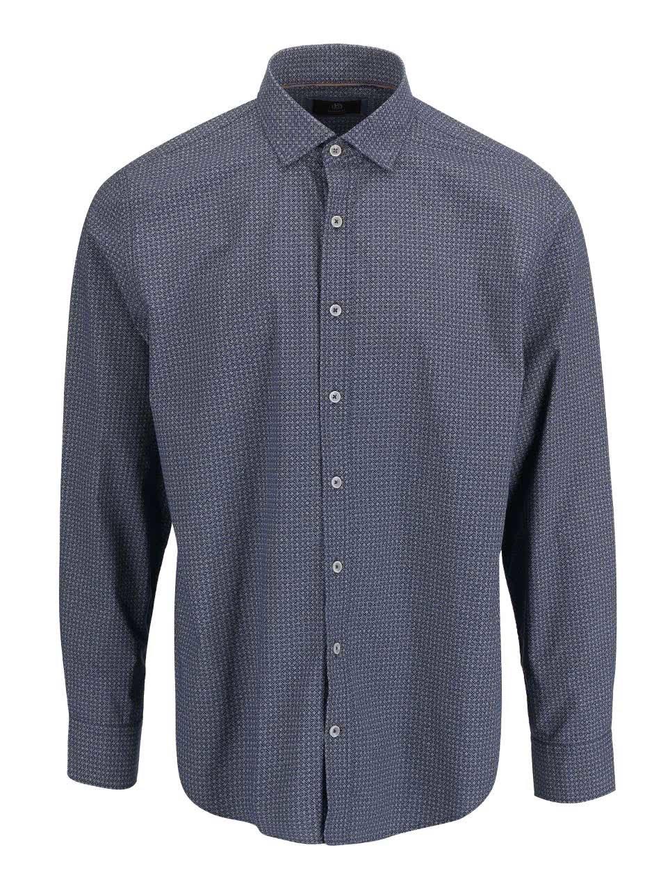 34506b7f0977 Modrá pánska košeľa s drobným vzorom bugatti ...