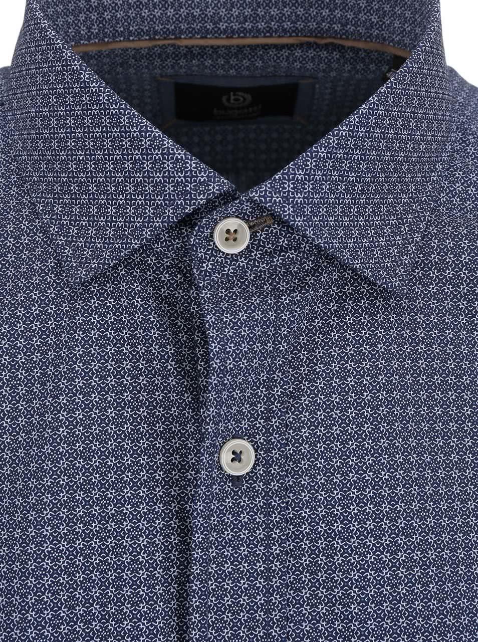 Modrá pánská košile s drobným vzorem bugatti ... 8bf7ae652b