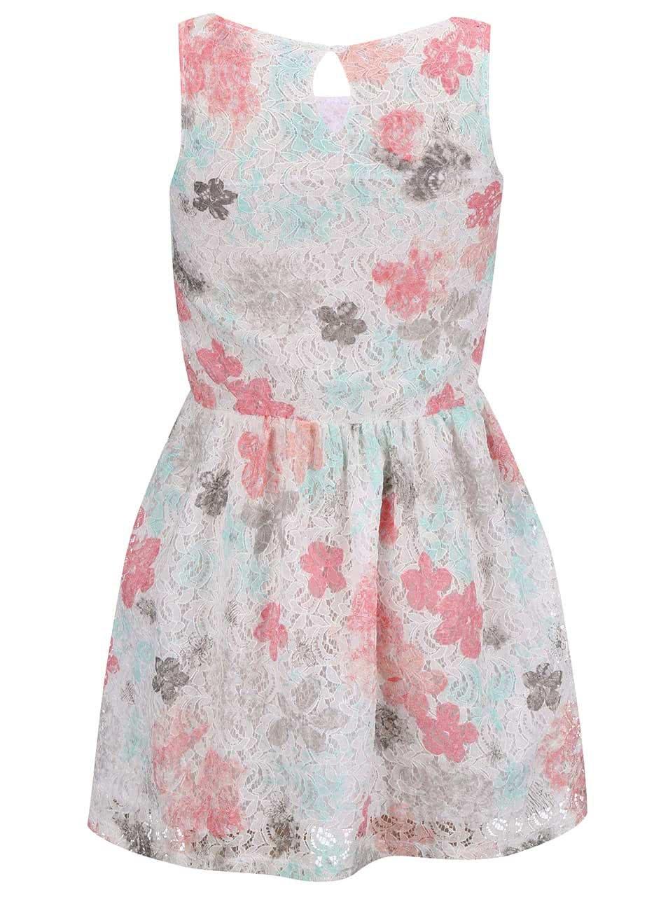 6277f00786ea Krémové dievčenské čipkované šaty s farebnými kvetinami Blue Seven ...