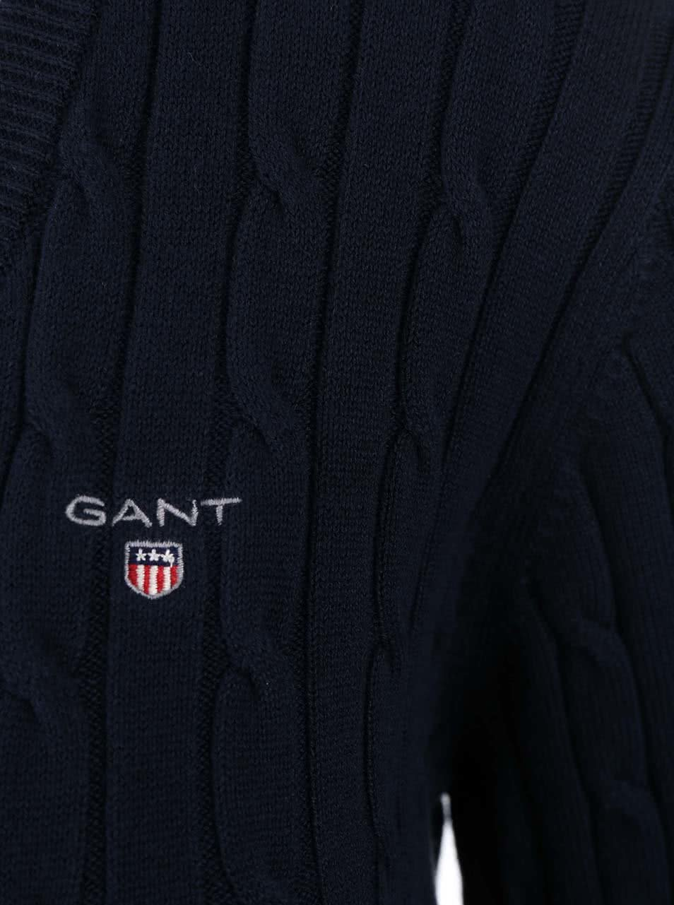 04cb90d0a91f Modrý dámsky sveter s výstrihom do V GANT ...