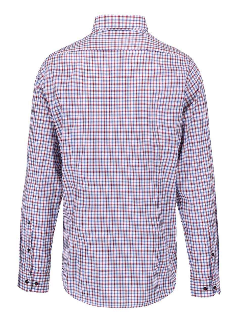 3ce5601a162b Biela košeľa s červeno-modrým károm Seidensticker Modern Kent Patch Slim  Fit ...