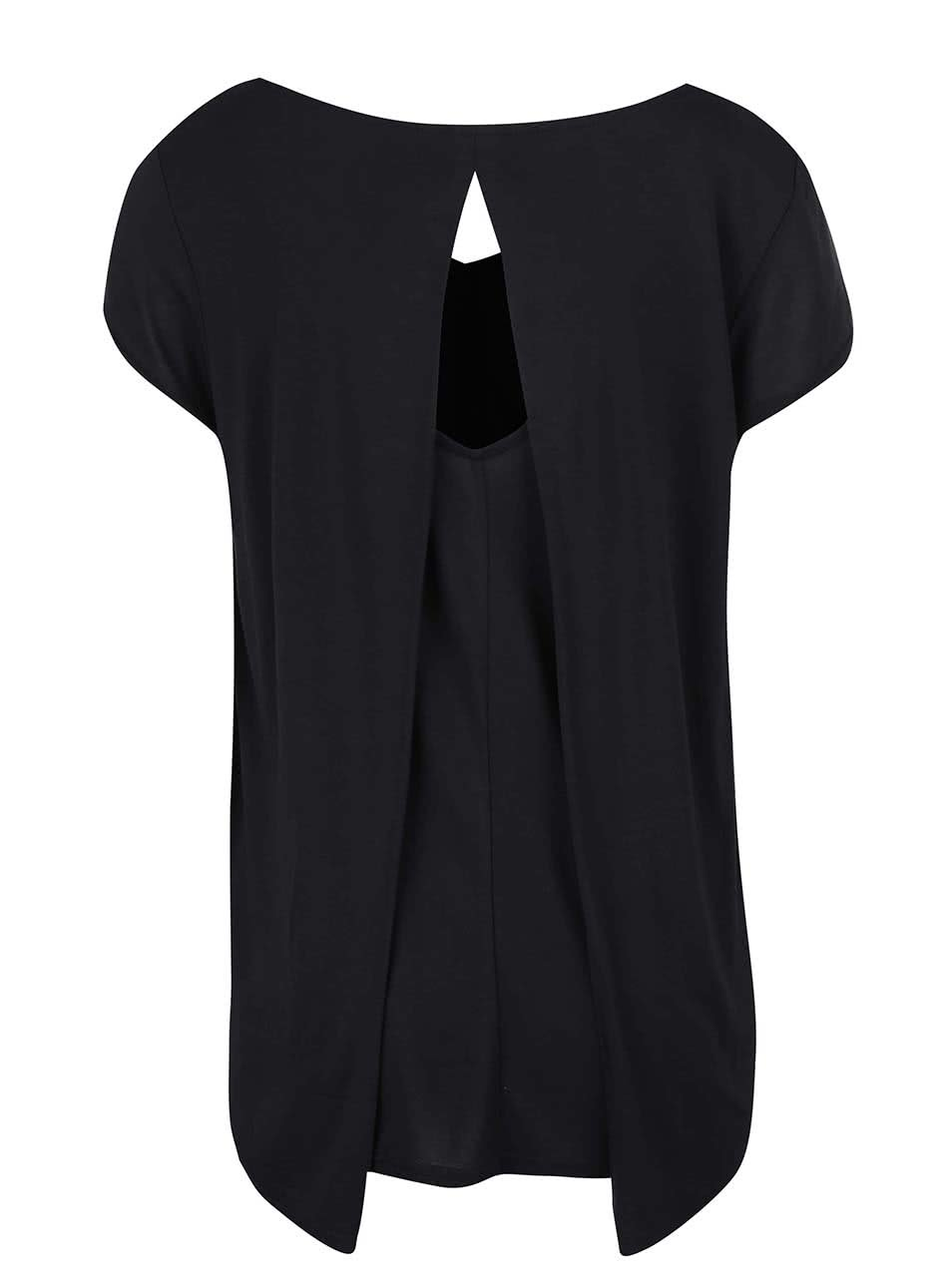 610fbd32658f Čierne dámske tričko s výstrihom na chrbte Bench Observe ...