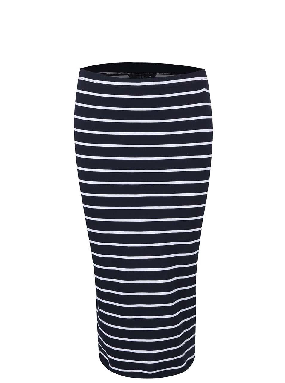 Tmavě modrá pruhovaná pouzdrová sukně ONLY Abbie