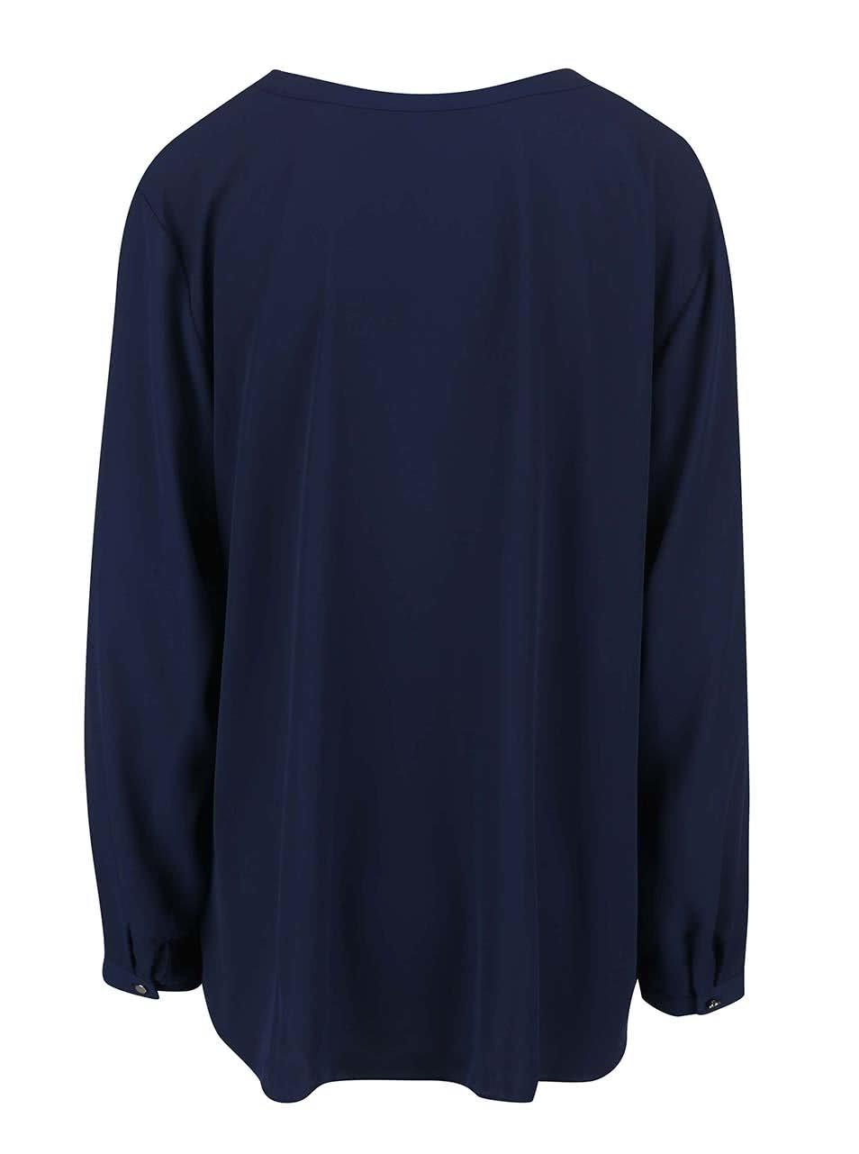 d561c95bee7 Tmavě modrá halenka se zipem ve zlaté barvě Dorothy Perkins Curve ...