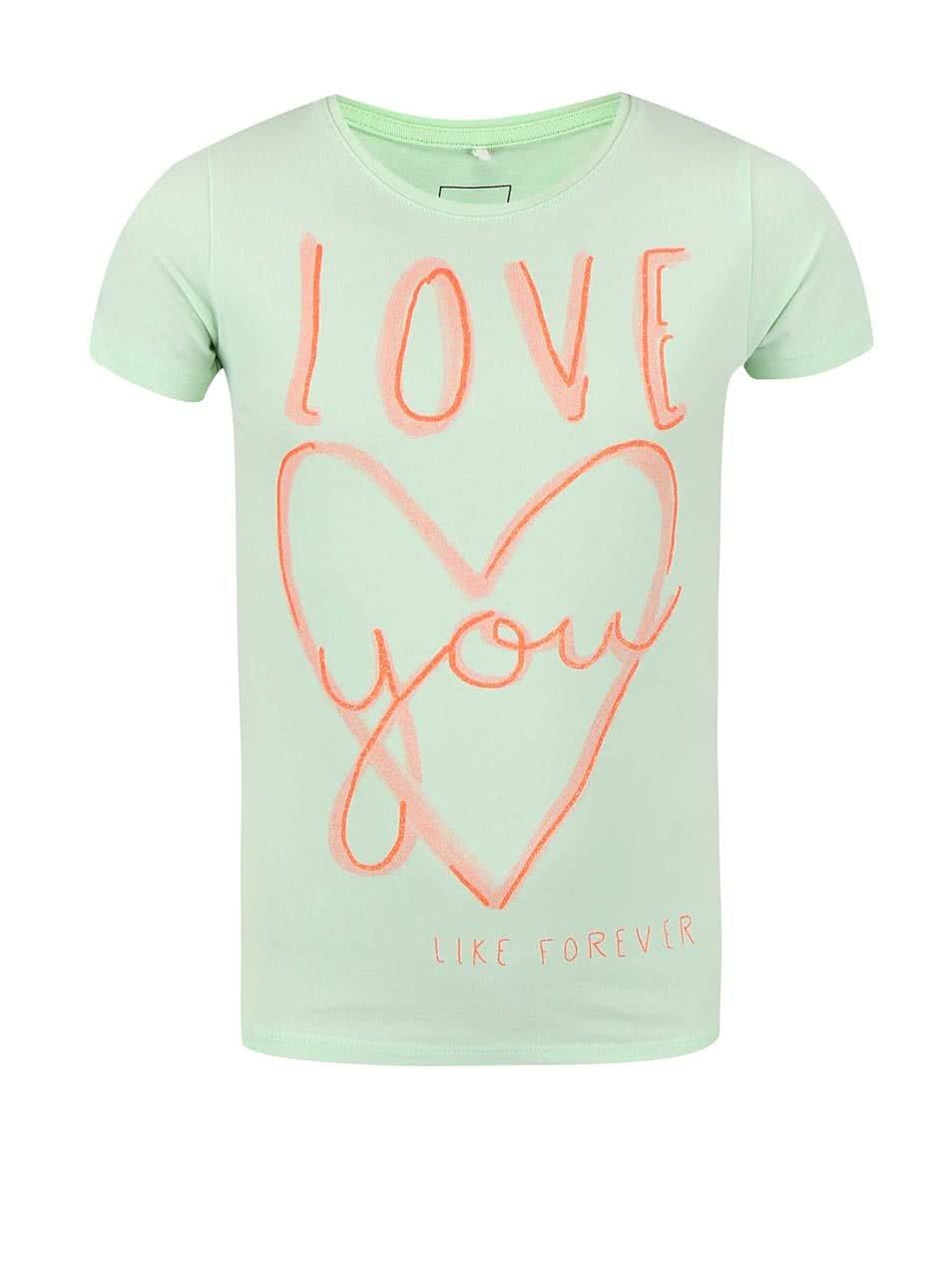 f34706a4c1c6 Zelené dievčenské tričko s nápisom a srdcom name it Giffa ...