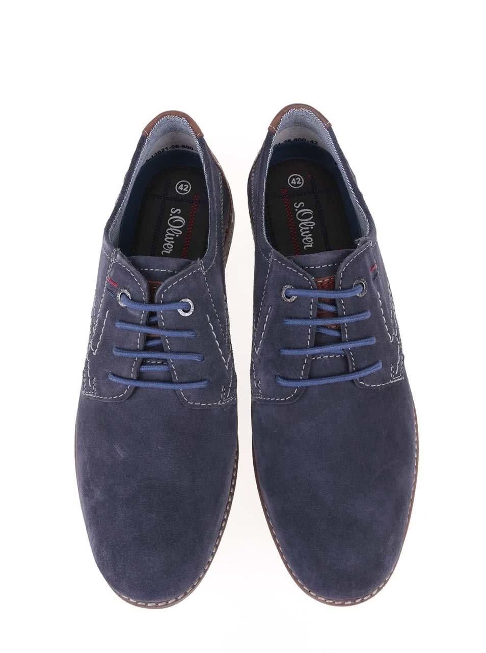 5e0873c2796a Modré pánske kožené poltopánky s hnedým šnurovaním s.Oliver