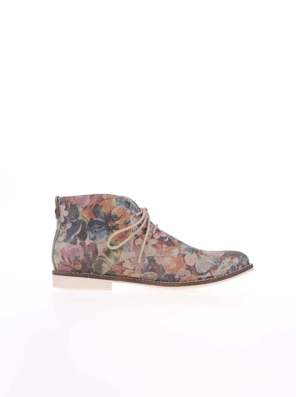 17131fda1b23 Farebné dámske kožené členkové topánky s kvetmi s.Oliver ...